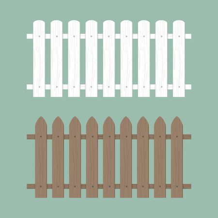 Wooden fence illustration. Farm wood wall yard, cartoon garden. Timber gate background pattern Standard-Bild - 133432738