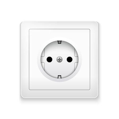 Power socket outlet wall plug icon. Electric round eu power socket illustration Ilustrace