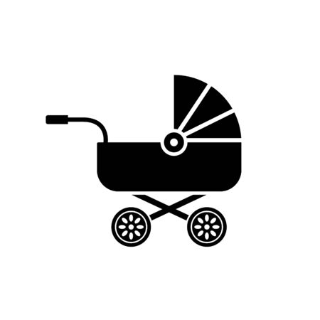 Baby carriage icon buggy, pram stroller silhouette illustration