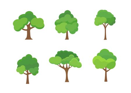 Flat tree icon illustration. Trees forest simple plant silhouette icon. Nature oak organic set design. Ilustrace