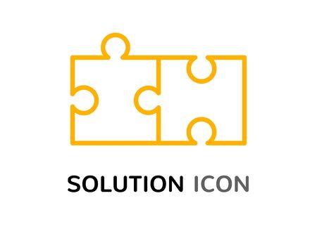 Simple solution puzzle concept, solving problem assemble icon design.
