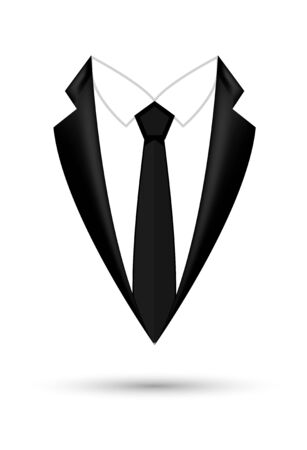 Man suit icon isolated background with bow. Fashion black business jacket design. Archivio Fotografico - 133432971