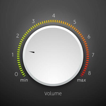 Symbolfeld für den Lautstärkeregler für den Musikregler. Audio-Knopfelement-Schnittstelle. Vektorgrafik