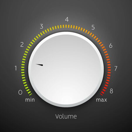 Volume music control knob icon panel. Audio knob element interface.