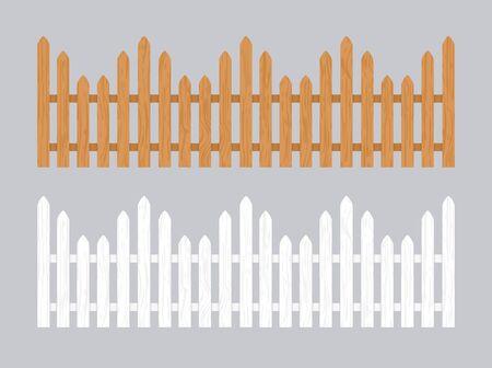 Wooden fence illustration. Farm wood wall yard, cartoon garden. Timber gate background pattern. Standard-Bild - 133433433