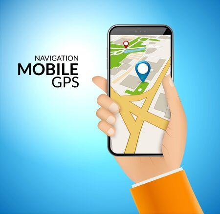 Mobile GPS navigation application. 3d map vector application for city gps route smartphone app.. Foto de archivo - 133433436