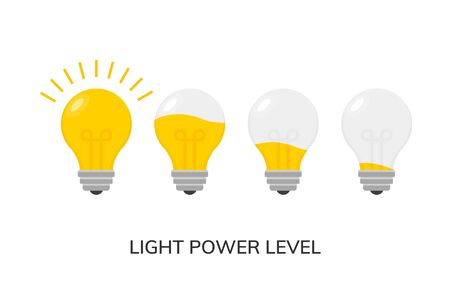 Vector light bulb power level icon isolated. Light lamp symbol electric concept. 일러스트