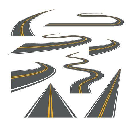 Vector camino camino sinuoso viaje carretera ilustración. Camino de la calle de asfalto camino aislado Ilustración de vector