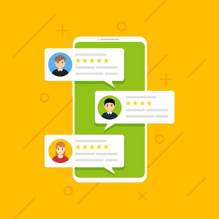 User reviews online. Customer feedback review experience rating concept. User client service message