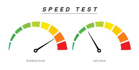 Speed test internet measure. Speedometer icon fast upload download rating. Quick level tachometer accelerate