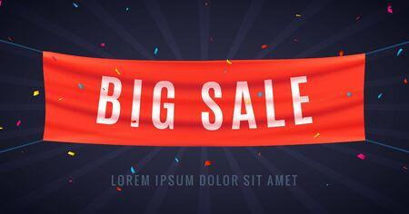 Big sale red flag ribbon. Discount sale banner wave