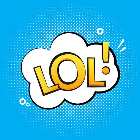 Lol text speech label icon. Pop retro vector tag comic background design Ilustração