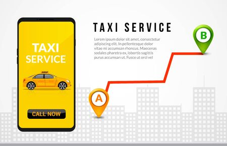 Taxi service app design. Mobile phone order taxi in city map location illustration