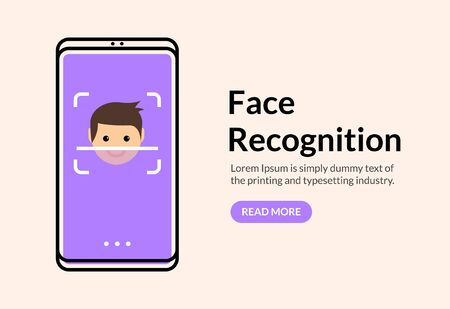 Biometric face recognition on smartphone. Facial scan security system technology. Face authentication identification Vektorové ilustrace