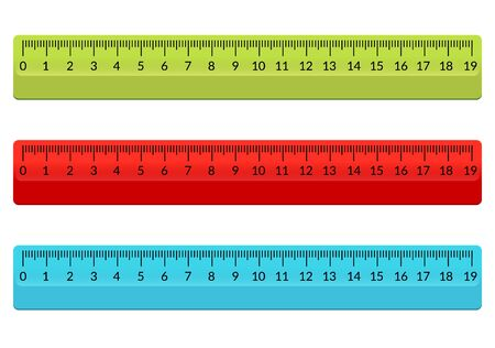 Ruler school flat centimeter. Scale inch rule millimeter plastic isolated illustration Illusztráció