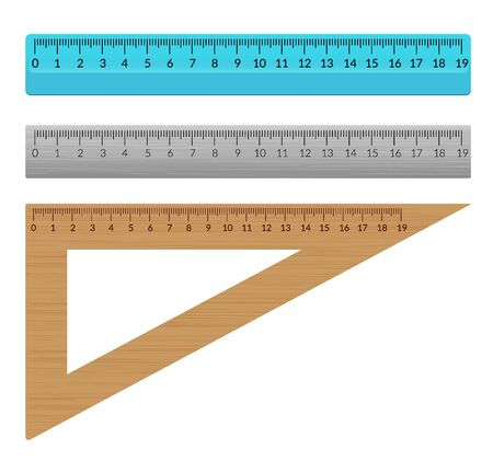Ruler school flat centimeter. Scale inch rule millimeter plastic isolated illustration.