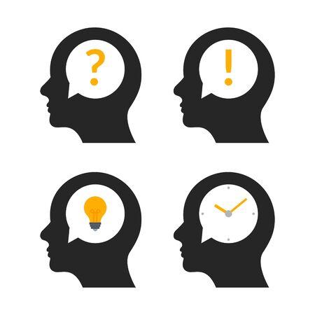 Human head brain idea profile. Person business question people mind creative illustration icon.