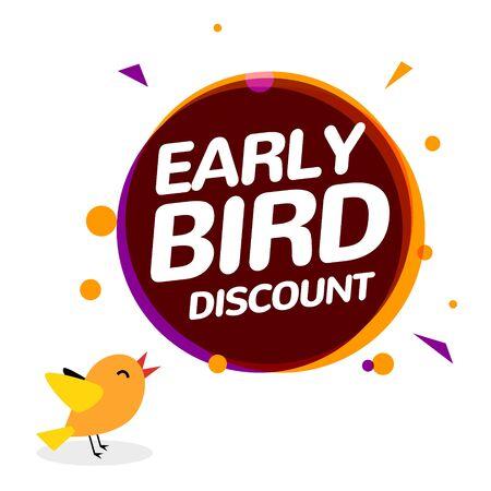 Early bird discount vector special offer sale icon. Early bird icon cartoon promo sign banner