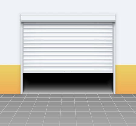 Warehouse or garage roller shutter door. Factory roller door entrance, floor building store shop interior. Ilustração