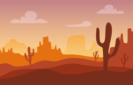 Desert sunset silhouette landscape. Arizona or Mexico western cartoon background with wild cactus, canyon mountain.