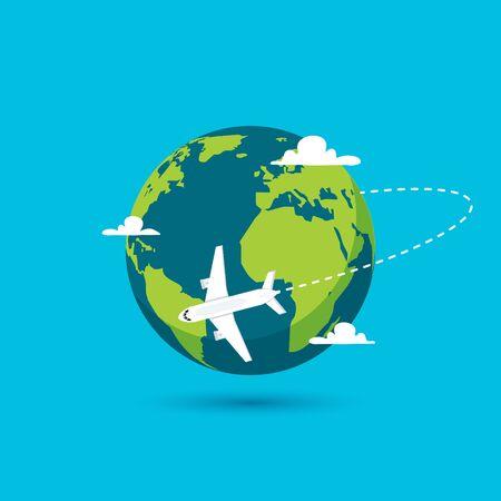 Airplane vector earth world globe icon. Plane flying round travel concept Illusztráció