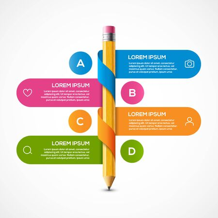 Pencil info graphic design template. Pencil infographic concept school brochure banner step