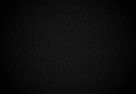 Hexagon dark background. Black honeycomb abstract metal grid pattern technology wallpaper. Vettoriali