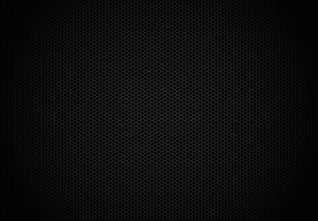 Hexagon dark background. Black honeycomb abstract metal grid pattern technology wallpaper. Ilustracja