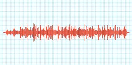 Seismogram earthquake seismic graph diagram. Seismometer or sound waves vibration richter activity. Ilustracje wektorowe
