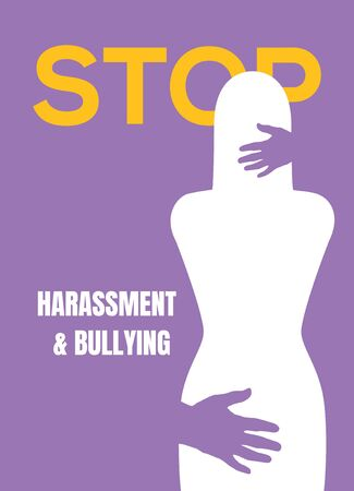 Sexual harassment violence stop poster. Sexual harassment assault woman concept.