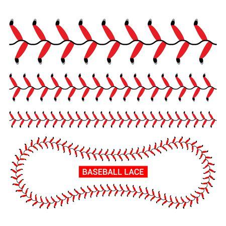 Baseball red lace seam thread. Base ball vector illustration lace stitch Vector Illustration