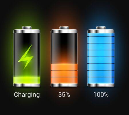 Icône d'alimentation de l'énergie de charge de la batterie. Technologie de conception de recharge de batterie vectorielle