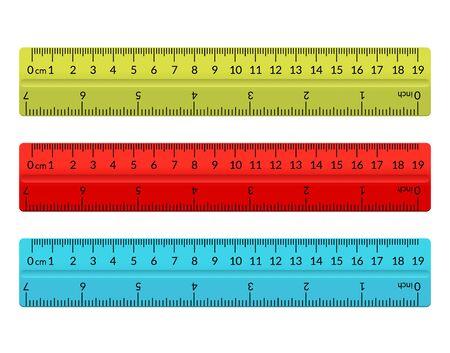 Ruler school flat centimeter. Scale inch rule millimeter plastic isolated illustration Ilustração