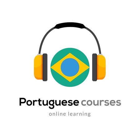 Portuguese language learning logo icon with headphones. Creative portuguese class fluent concept speak test and grammar