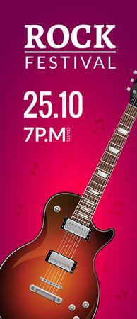 Szablon projektu ulotki festiwalu rocka z gitarą. Zaproszenie broszura transparent rock.