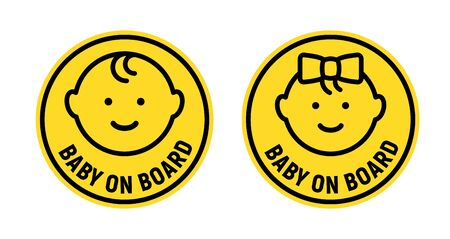 Baby on board sign icon. Child safety sticker warning emblem. Baby safety design illustration.