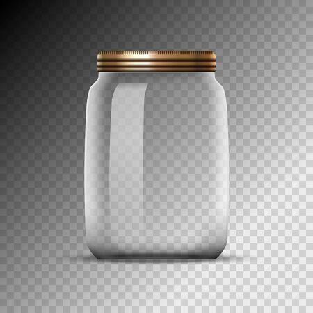 Bocal en verre vide isolé sur fond transparent. Pot de bouteille à couvercle blanc avec bouchon en métal.