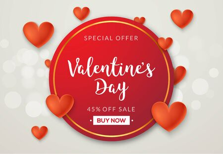 Valentines day sale vector banner background with hearts. Valentine discount holiday poster template for promo sale Vetores