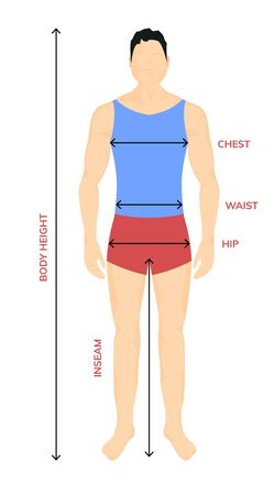 Man anatomy silhouette size. Human body full measure male figure waist, chest chart template.