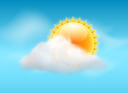 Backgrund del tiempo del vector del cielo de la nube. Bandera del pronóstico del icono soleado del día cálido de la ilustración del sol.