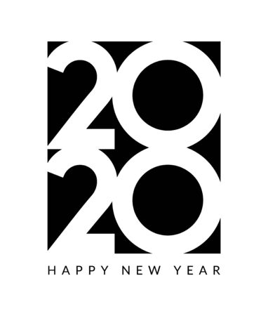 2020 new year design happy vector logo calendar. 2020 typography card.