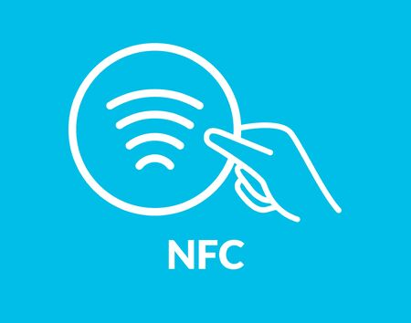 Contactless NFC wireless pay sign logo. Credit card nfc payment vector concept.