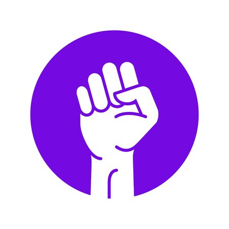 Fist hand power logo. Protest strong fist raised fight icon, rebel illustration.