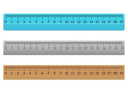 定規学校平らなセンチメートル。スケールインチルールミリメートルプラスチック木製の孤立したイラスト。 ベクターイラストレーション