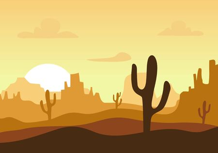 Desert sunset silhouette landscape. Arizona or Mexico western cartoon background with wild cactus, canyon mountain Vetores