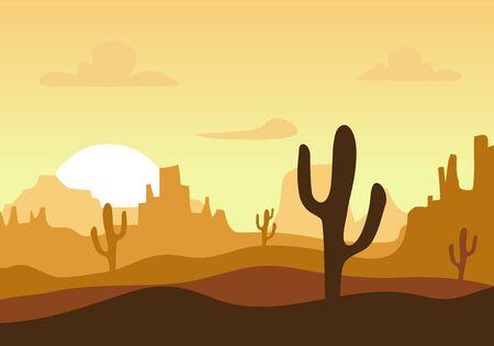 Wüste Sonnenuntergang Silhouette Landschaft. Arizona oder Mexiko Western Cartoon Hintergrund mit wildem Kaktus, Canyon Mountain, Vektorgrafik