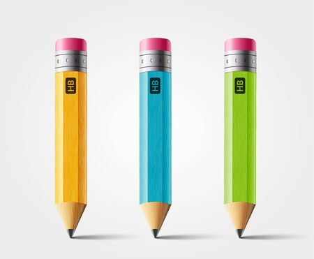 Vector short pencil, realistic pencil isolated cartoon with rubber eraser.