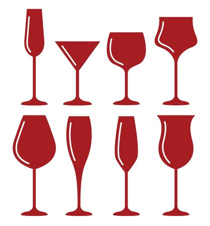 Wine glass cup icon set. Red wine symbol pour drink beverage silhouette, glass cup Ilustrace