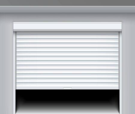 Puerta de persiana enrollable. Puerta metálica de garaje enrollable. Persiana eléctrica del fondo de la ventana blanca del rollo.