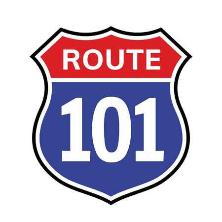 101 route sign icon. Vector road 101 highway interstate american freeway us california route symbol Banque d'images - 137864679